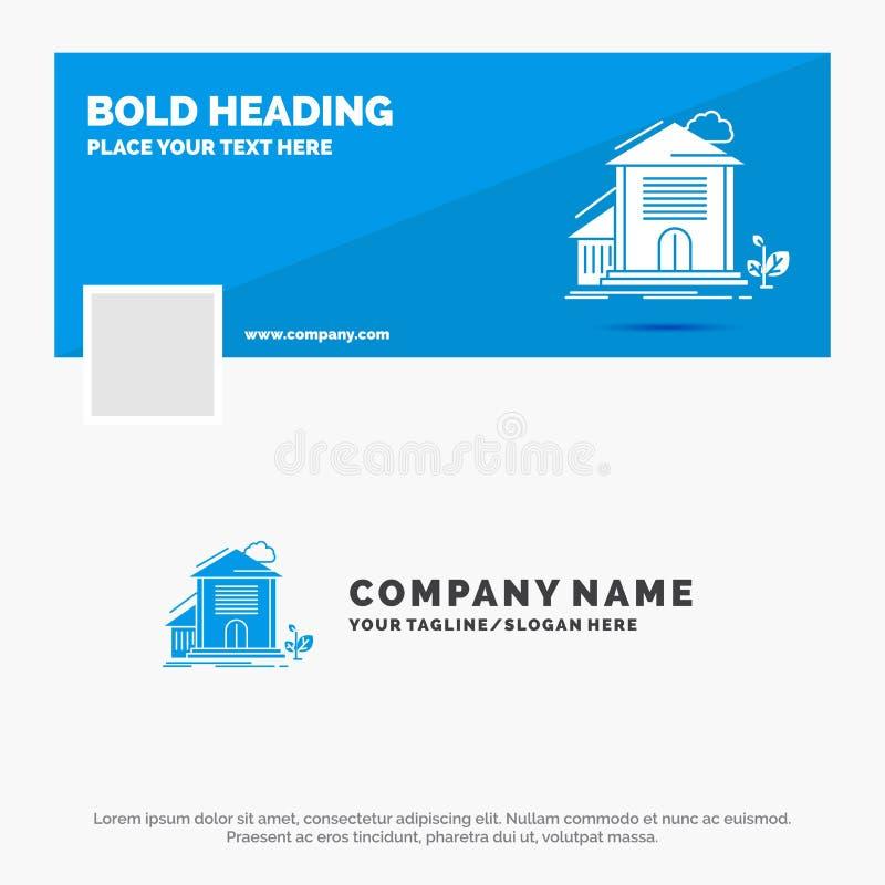Blue Business Logo Template for Home, house, Apartment, building, office. Facebook Timeline Banner Design. vector web banner stock illustration