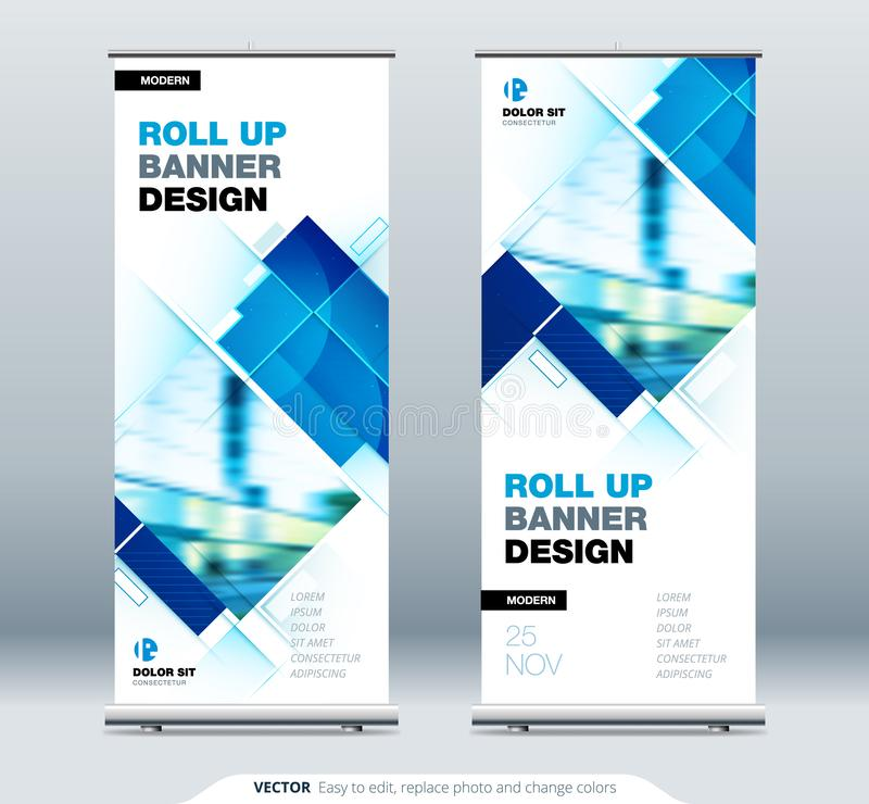 Blue Business Roll Up Banner. Abstract Roll up background for Presentation. Vertical roll up, x-stand, exhibition royalty free illustration