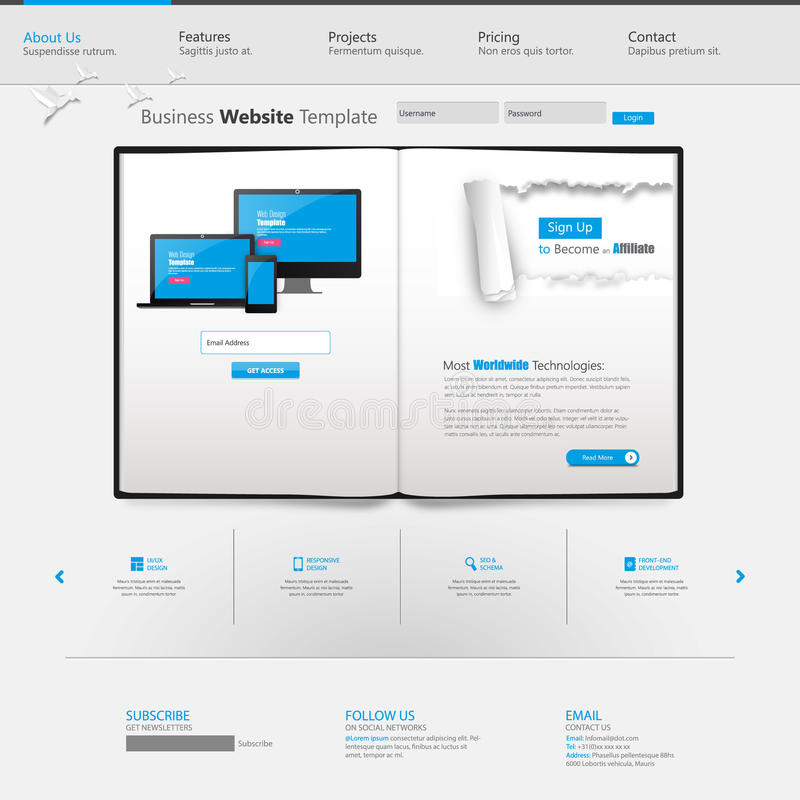 Blue Business Website Template With Ripped Paper - Home Page ...