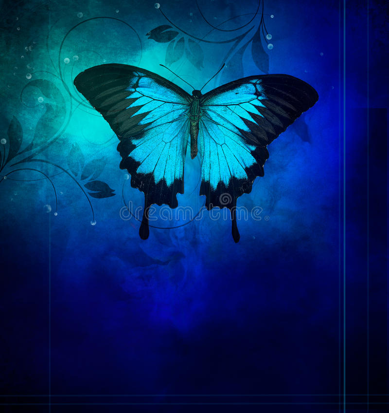 Free Blue Butterflies On Darkbackground Royalty Free Stock Images - 86885889