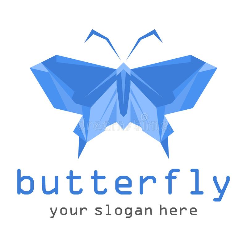 Blue Butterfly icon isolated on white background. stock illustration