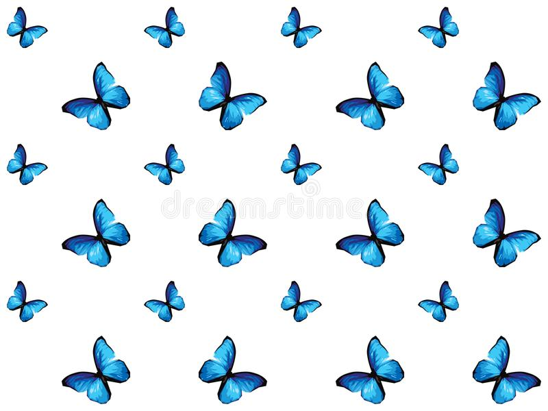 Blue butterfly isolated on white background vector illustration
