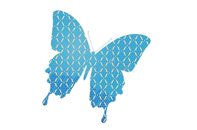 Blue butterfly isolated on white background. Illustration design stock photo