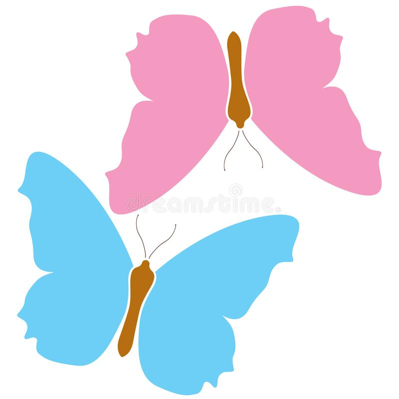 Blue butterfly pink icon logo isolated white background. Colorful beautiful color wings symbol. Vector tropical nature vector illustration