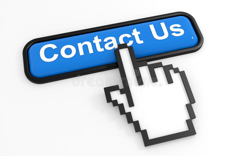 Blue Button CONTACT US With Hand Cursor. Royalty Free Stock Image
