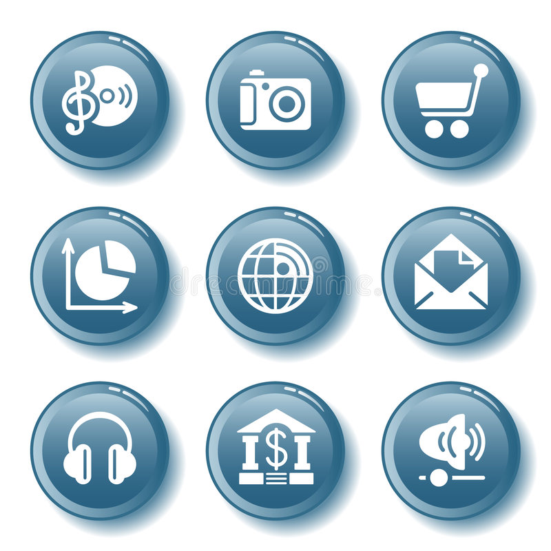 Blue button set 05. Vector icons set for internet, website, guides vector illustration