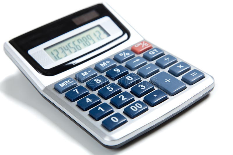 Blue buttoned calculator on white royalty free stock photos
