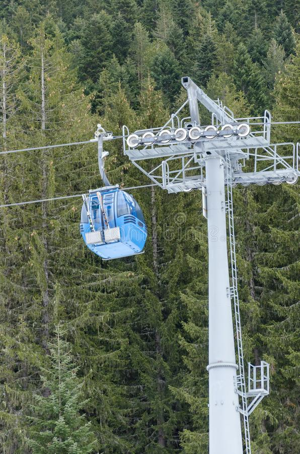Blue cable car lift at ski resort among pine trees. Blue cable car lift at ski resort among mountain pine trees royalty free stock image