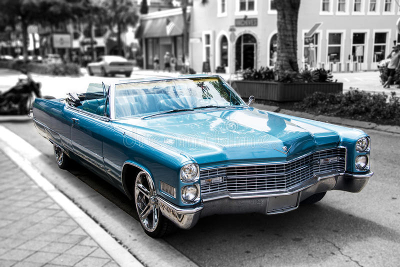 Blue Cadillac convertible stock photography