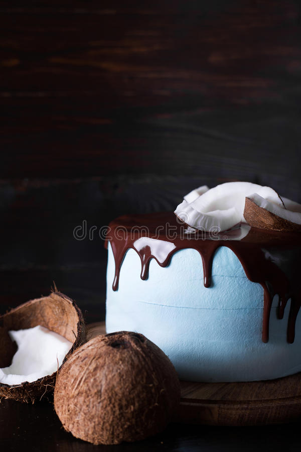 Blue cake decorated with coconut. And chocolate frosting on a dark wooden background stock image