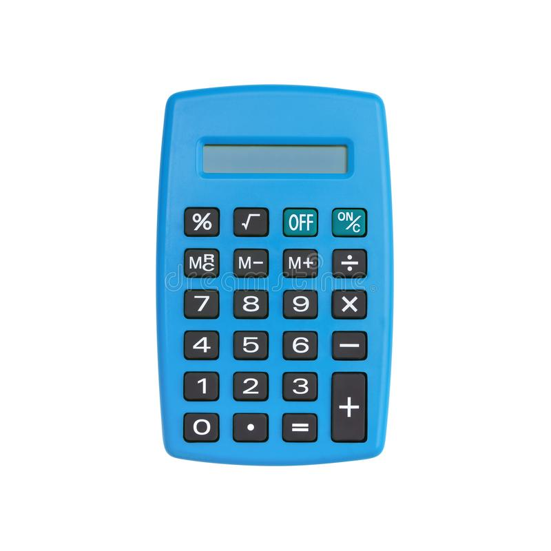 Blue calculator isolated on white royalty free stock photos