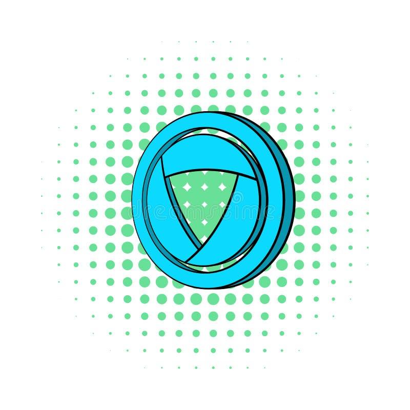 Blue camera aperture icon, comics style. Blue camera aperture icon in comics style on a white background royalty free illustration