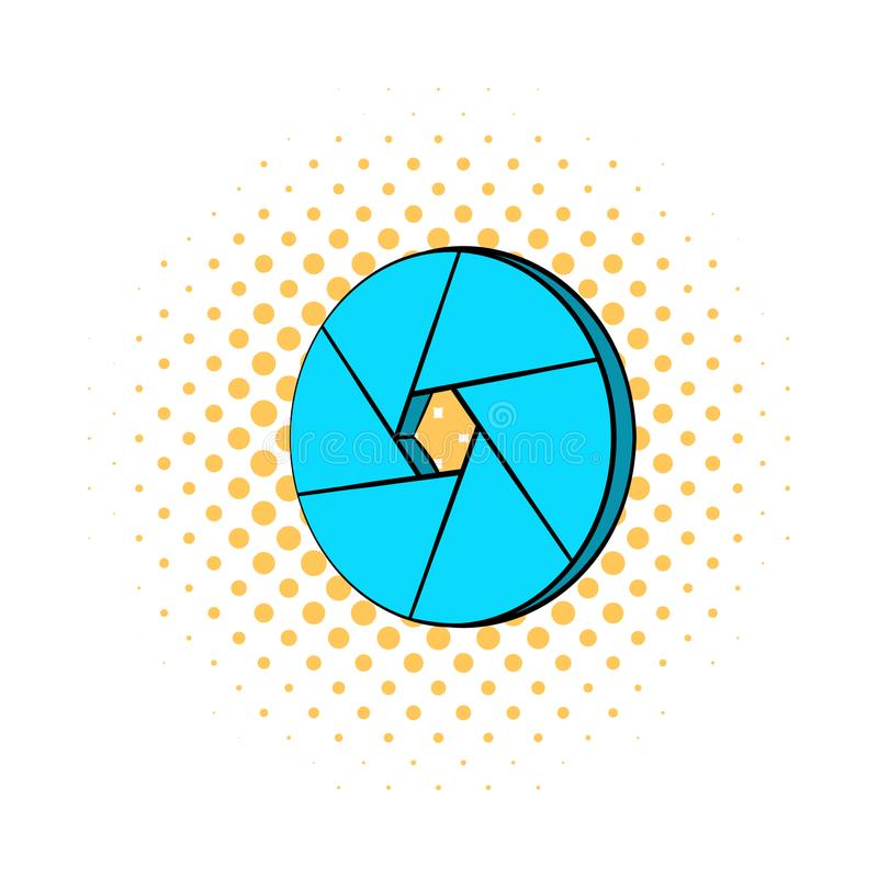 Blue camera aperture icon, comics style stock illustration