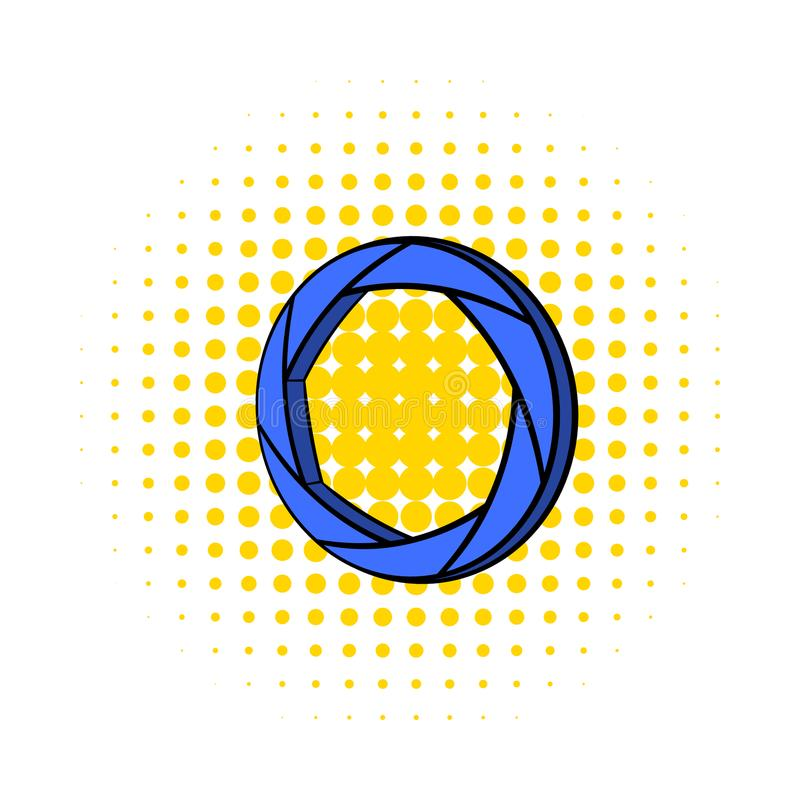 Blue camera aperture icon, comics style vector illustration