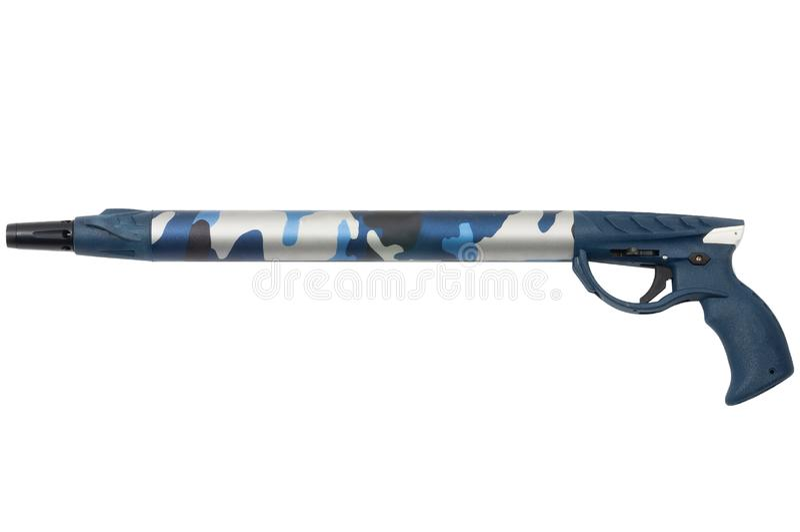 Short underwater harpoon gun isolated on white background stock photo