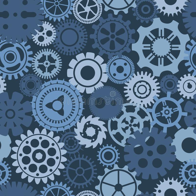 Free Blue Camouflage Silhouettes Of Gears, Cogs, Gearwheels And Screw-wheels Stock Photography - 164613332