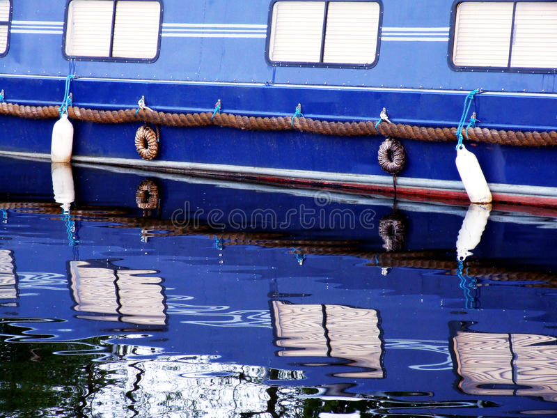 Blue canal boat. Close up royalty free stock photo