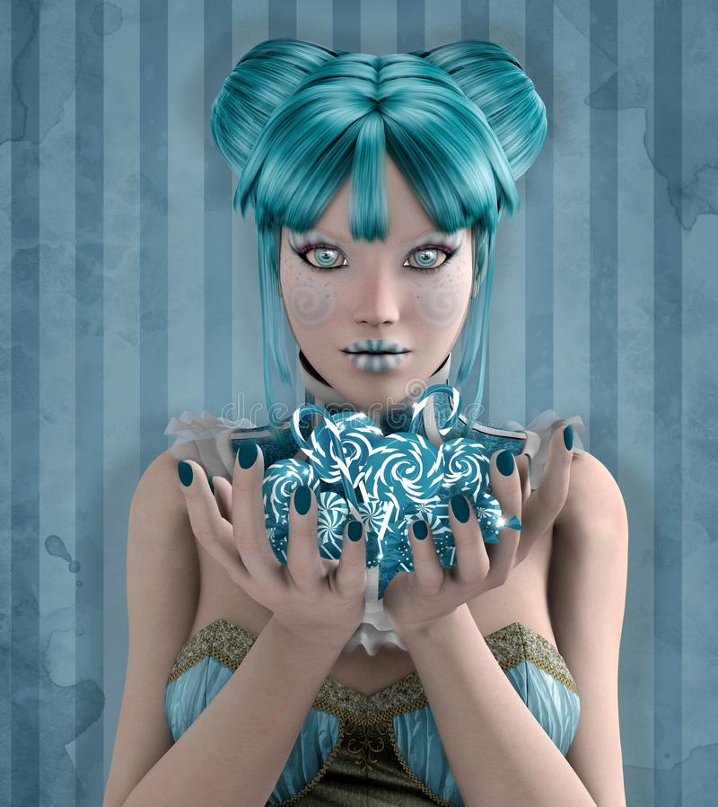 Blue candies. Beautiful fantasy girl with blue candies