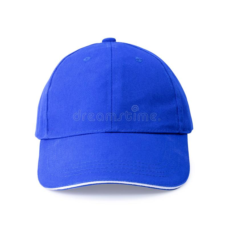 Blue cap isolated on white background. Template of baseball cap in front view. Clipping path. Blue cap isolated on white background. Template of baseball cap in stock photography