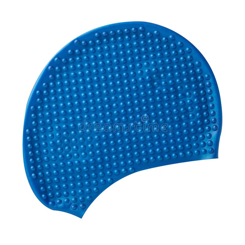 Blue cap for swimming from rubber or silicone, on a white background stock photos