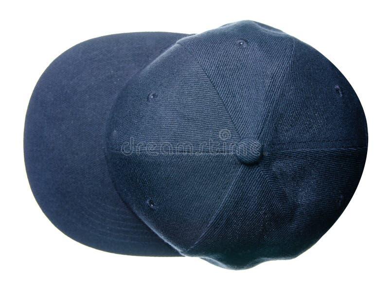 Blue cap on white background stock photos