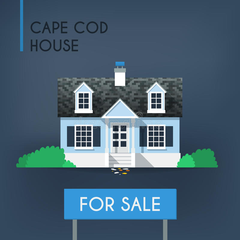Blue Cape Cod Country House Stock Vector - Image: 51371230