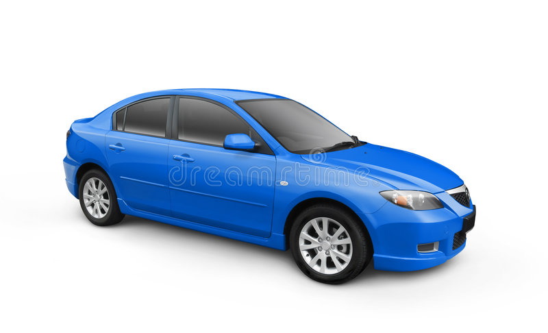 Blue Car w/ Clipping Path royalty free illustration