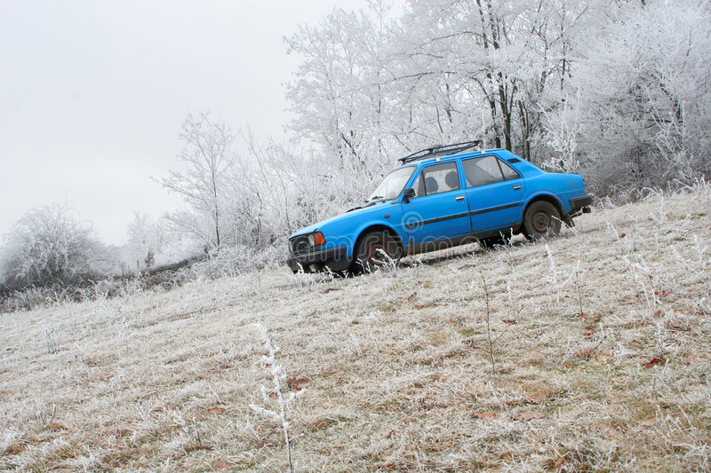 Download Blue car by winter forest stock image. Image of winter - 3986023