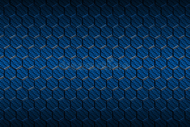 blue carbon fiber hexagon pattern stock illustration