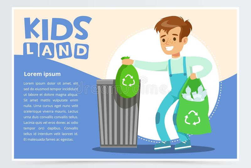 Blue card with boy throwing away bin bags filled with plastic bottles. Kid doing household chores. Colorful flat style. Blue card with boy throwing away bin bags royalty free illustration