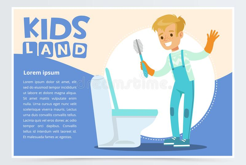 Blue card or poster with cute young boy in gloves cleaning toilet with brush. Kid doing a home cleanup, household chores. Children helping parents concept stock illustration