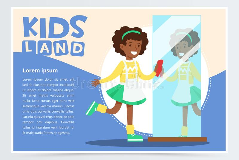 Blue card with smiling black girl with curly hair cleaning the mirror. Kid doing house cleanup, household chores. Vector stock illustration