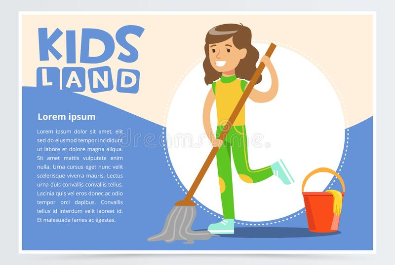 Card with boy hangs clothes in the closet. Kid doing a home cleanup, household chores. Teenager cleaning his room. Flat. Blue card with text and smiling girl vector illustration