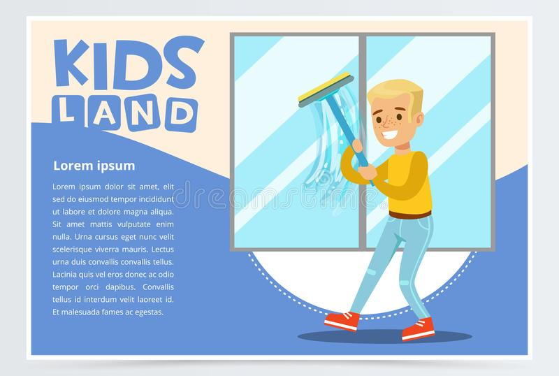 Blue card with young boy washing the window with wiper. Kid helping with housekeeping and doing house cleanup, household. Chores. Home duties of the child vector illustration