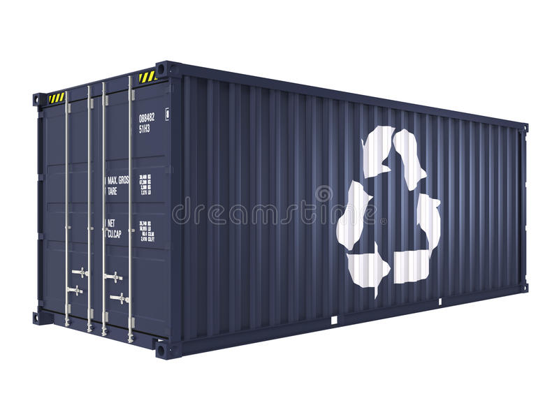 Blue cargo container with recycle mark. Isolated on white background stock illustration