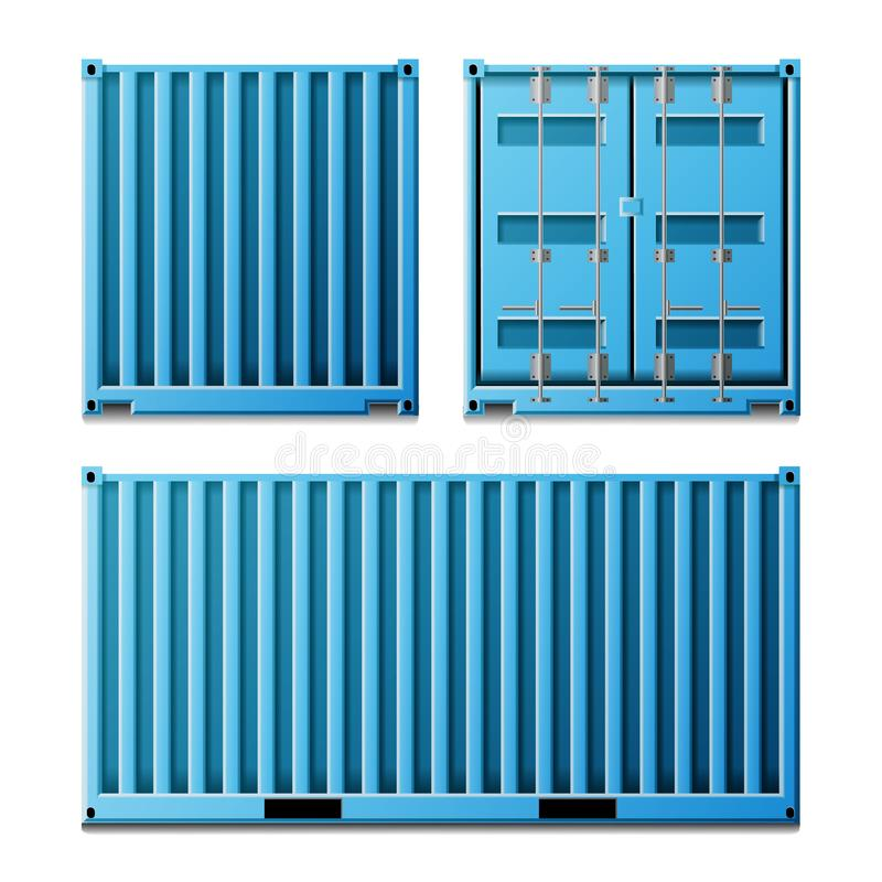 Blue Cargo Container Vector. Realistic Metal Classic Cargo Container. Freight Shipping Concept. Transportation Mock Up vector illustration
