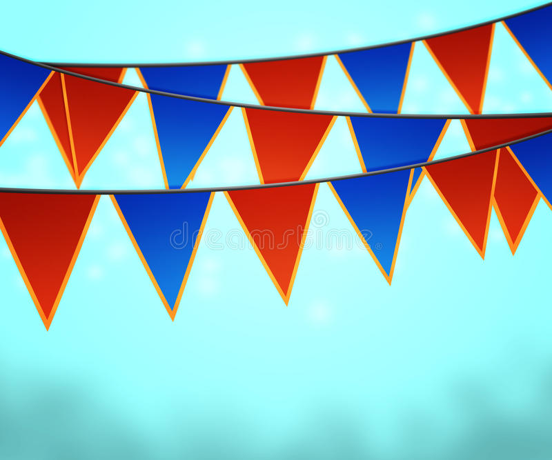 Blue Carnival Flags Background stock illustration