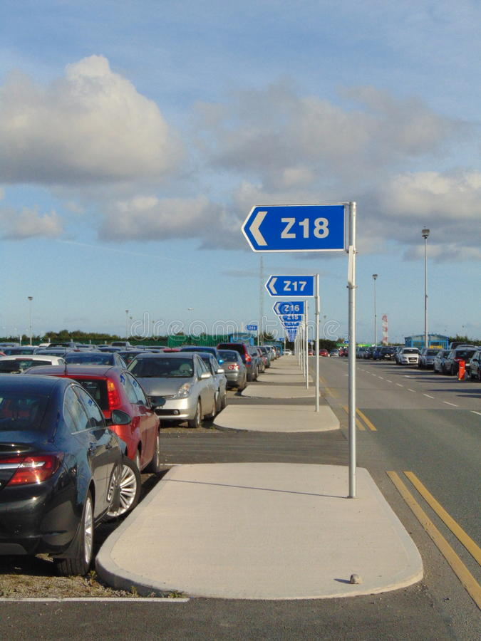 Blue Carpark at Dublin Airport stock photos