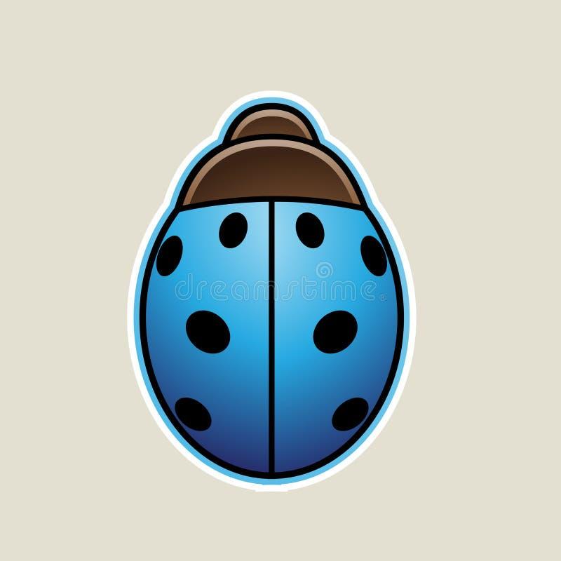 Blue Cartoon Ladybug Icon Vector Illustration. Vector Illustration of Blue Cartoon Ladybug Icon isolated on a White Background vector illustration
