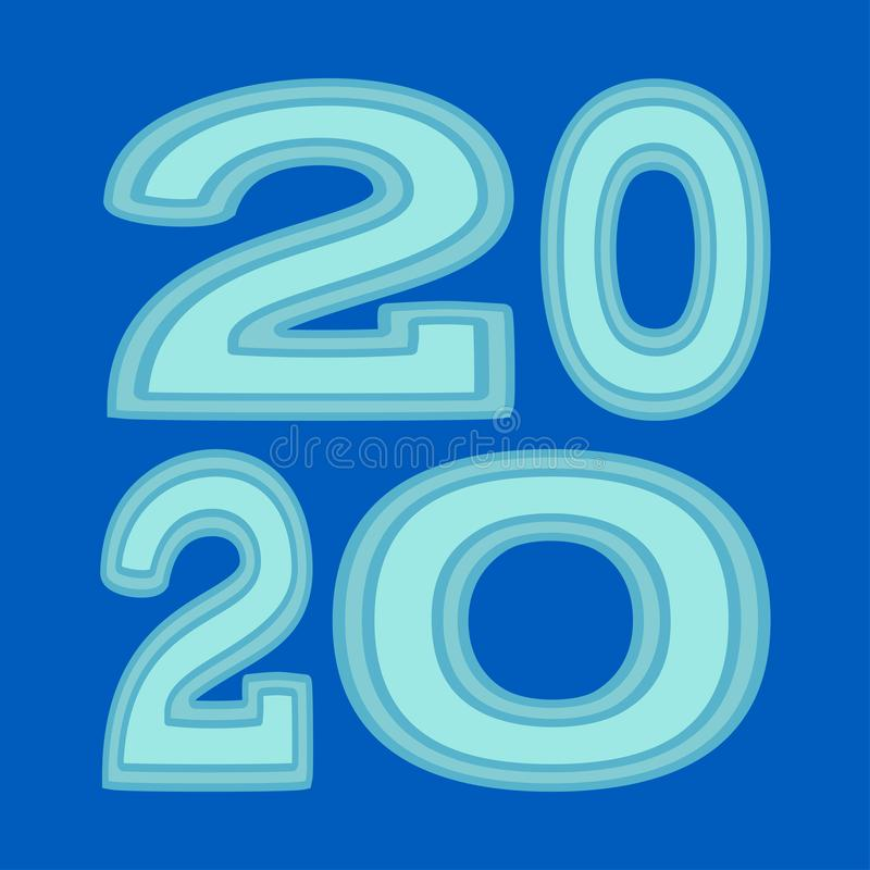 Blue cartoon 2020 newyear various width characters vector illustration