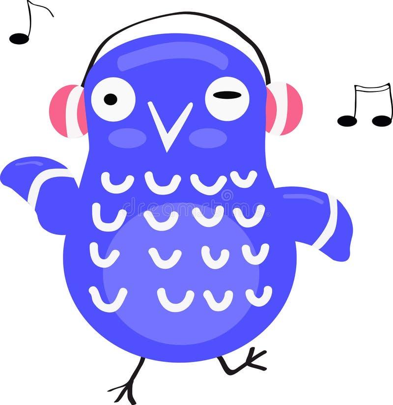 Blue cartoon owl dancing and listening to music illustration. Blue vector funny bird stock illustration
