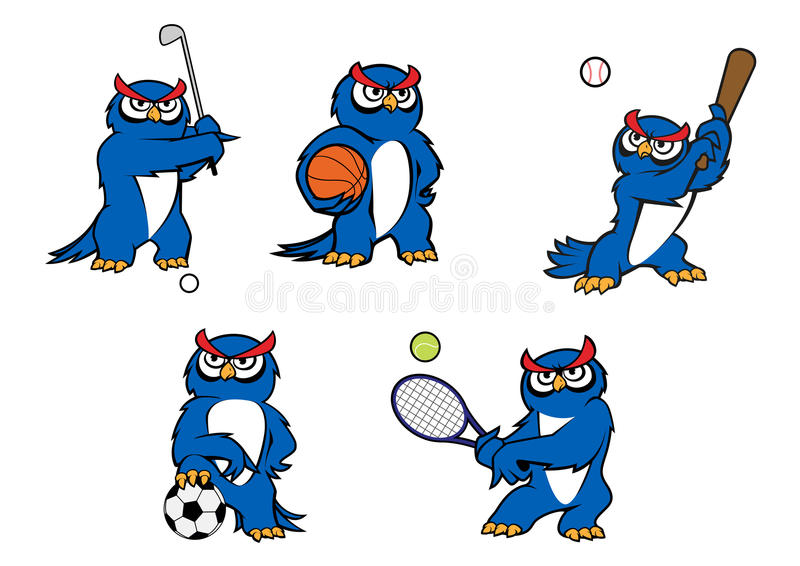blue cartoon owl player characters stock vector illustration of rh dreamstime com Owl Mom and Dad Clip Art Mean Owl Clip Art