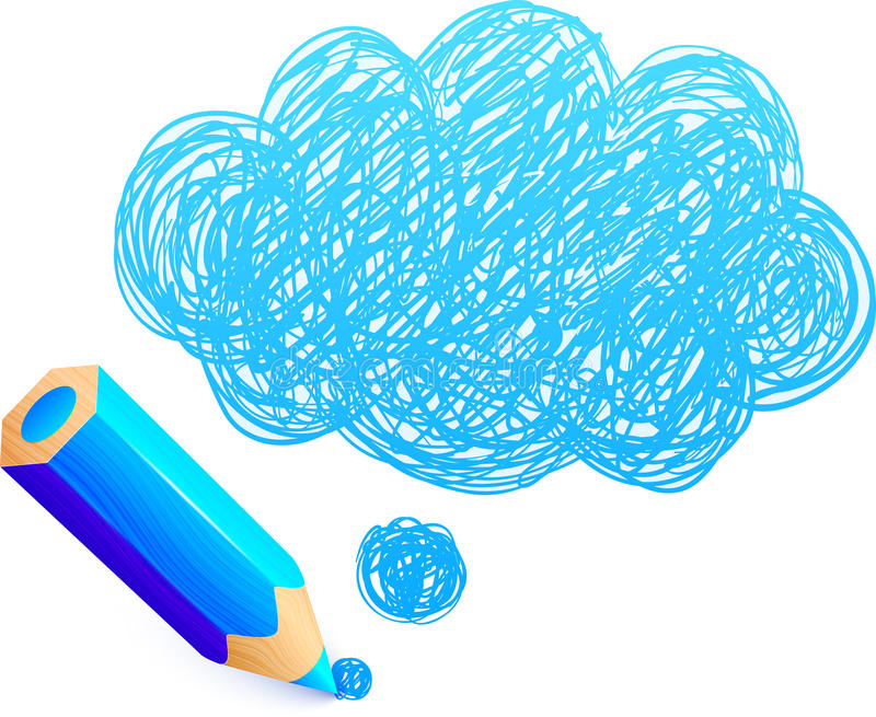 Blue cartoon pencil with doodle cloud stock illustration