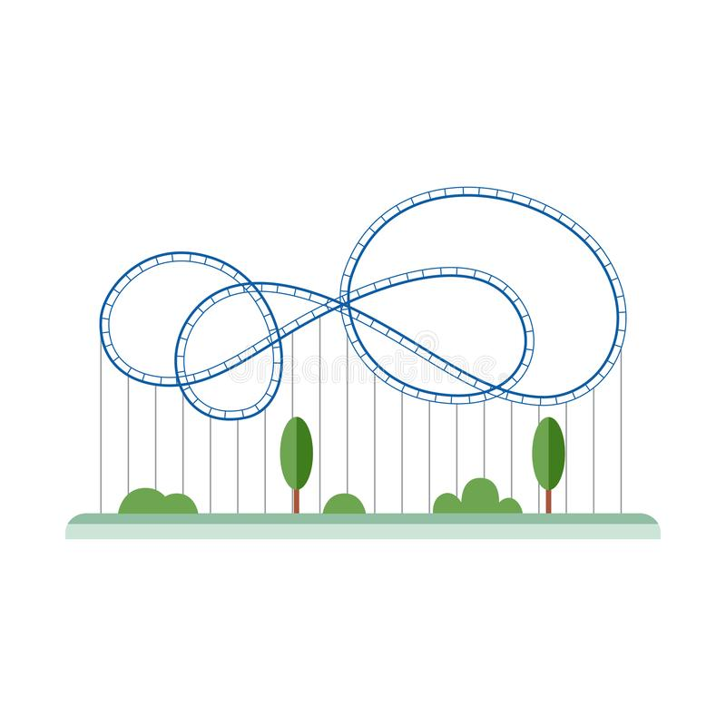 Blue cartoon rollercoaster with empty looping rail track royalty free illustration