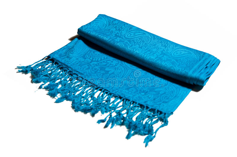Blue cashmere scarf. On white background royalty free stock images