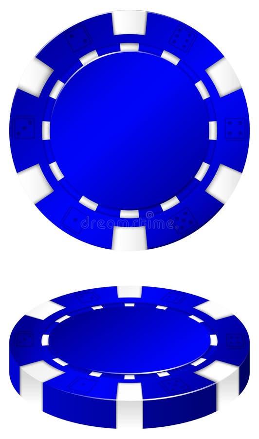 Blue casino chips front and side. Illustration vector illustration