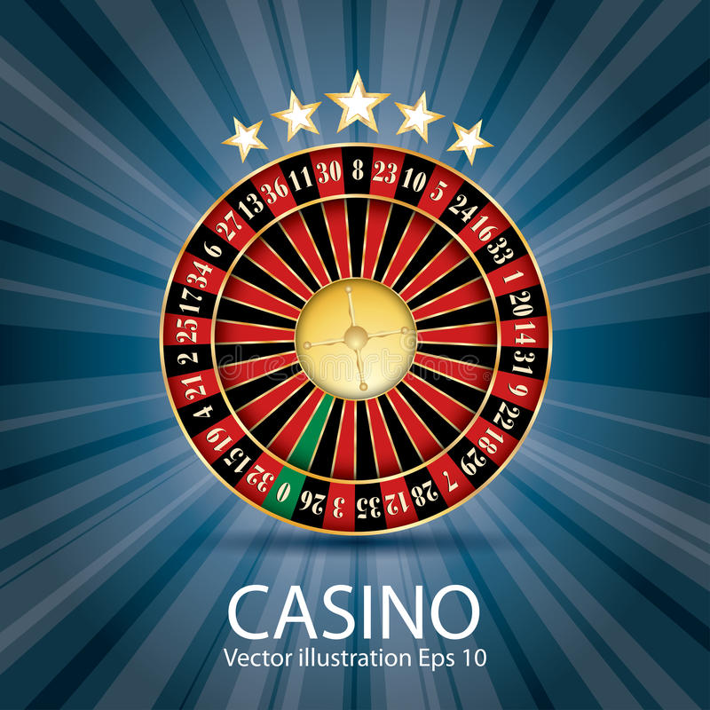 Blue casino roulette. Casino vector abstract illustration with roulette, stars and blue burst stock illustration