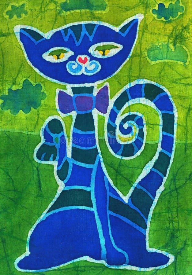 Download Blue cat stock illustration. Image of fabric, paint, artwork - 2624267