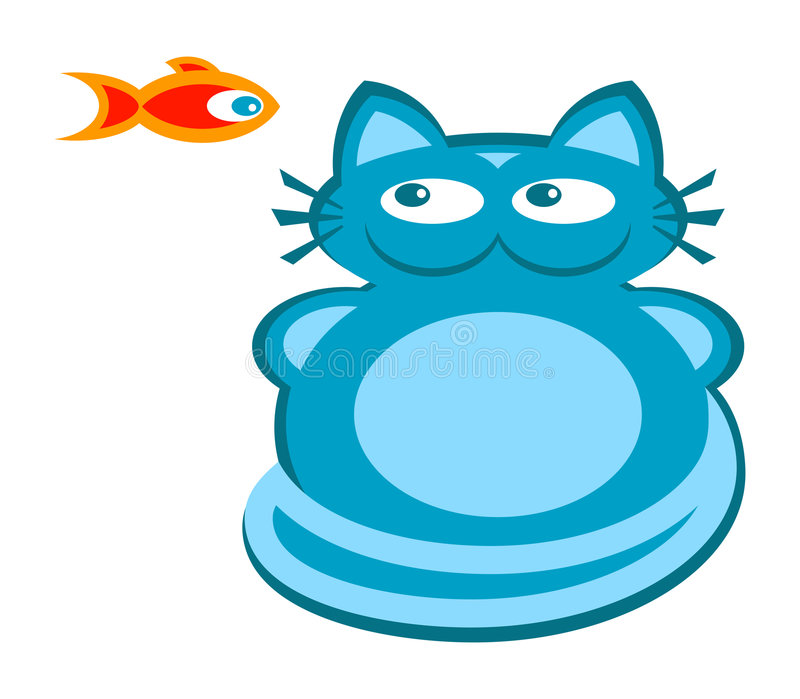 Blue cat and red fish - Vector royalty free illustration