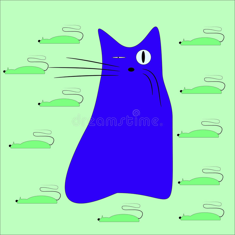 Cat and mice vector cartoon. Blue cat wiht eleven green mouse vector illustration